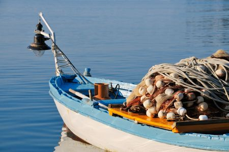 commercial fishing: Fishing boat prepared to fish Stock Photo