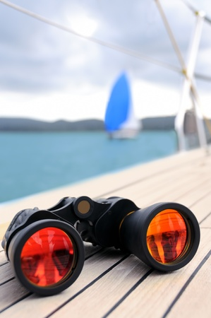 Binocular on the deck of yacht
