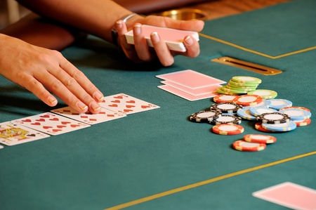 Casino table with hands Stock Photo - 8952114