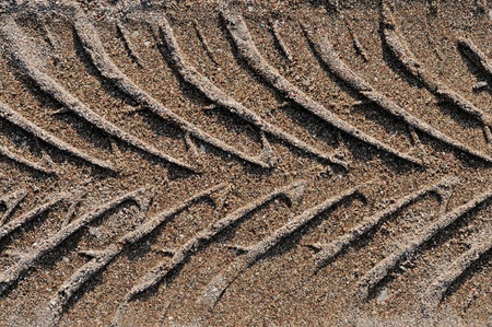 Vehicle impression in sand  photo