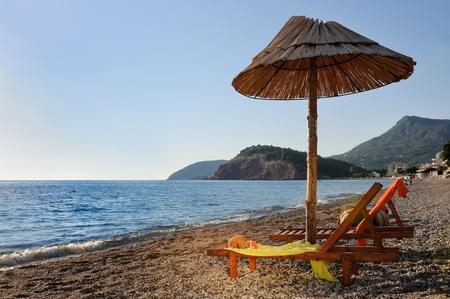 Beach with sunshade  Stock Photo