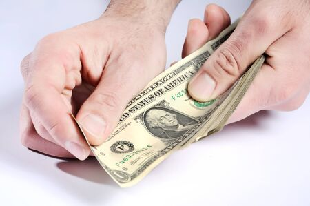 Dollars in hands, paying money Stock Photo - 9404588