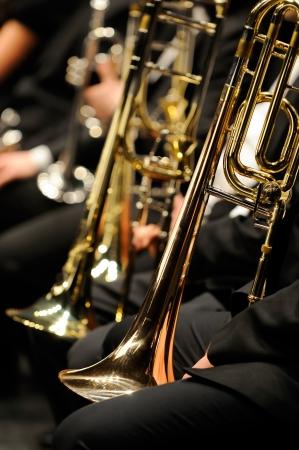Concert with trumpet closeup