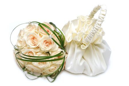 Wedding bag and the bouquet isolated