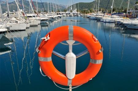 Safety buoy in marina photo
