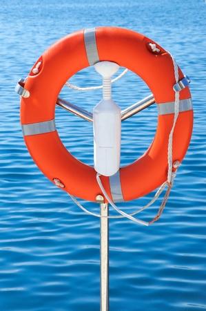 Safety orange buoy on ship  photo