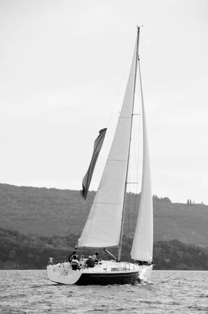 Sailing yacht black & white photo