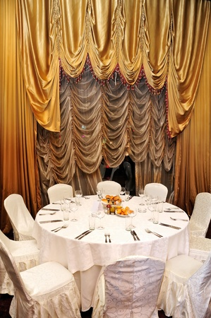 Elegant banquet, dinner table prepared event photo