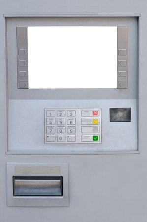 bankomat: ATM with blank display for advertising Stock Photo