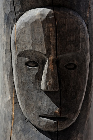 Wooden African tribal mask photo