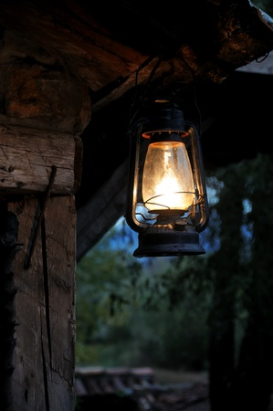 lit lamp: Romantic lantern at night
