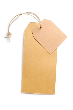 Set of paper tags Isolated on white background. Natural hand made. Stock Photo
