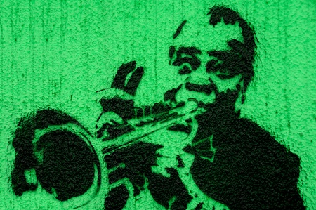 Trumpeter graffiti green Stock Photo