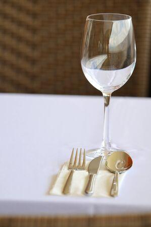 Fine restaurant dinner table setting photo