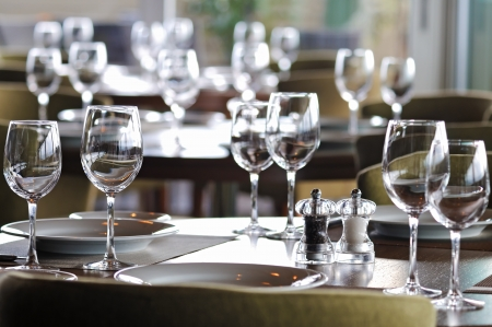 Empty glasses in restaurant photo