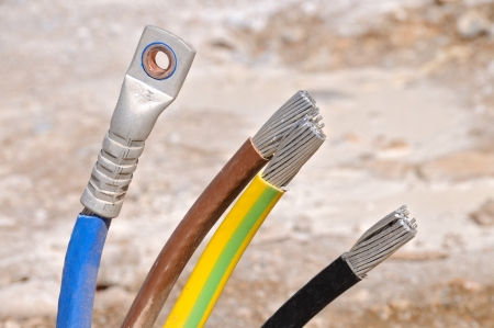 Electrical electric cable wires for high voltage Stock Photo
