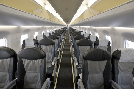 Interior of the passenger airplane photo