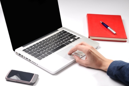 Male hand typing on laptop computer Stock Photo - 17676135