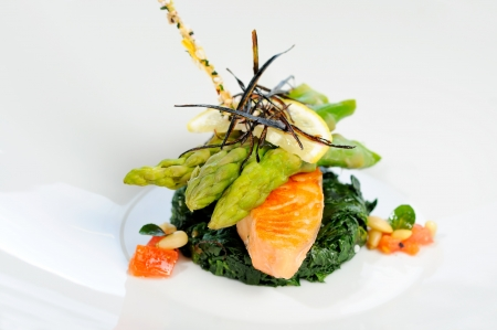 Grilled salmon with asparagus and chard