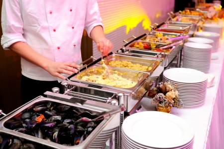 catering table: Food on the luxury pary Stock Photo