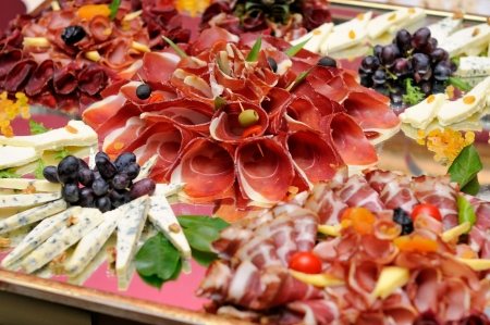 food buffet: Meats and cheese selection Stock Photo