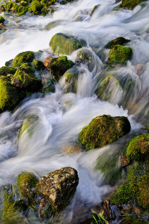 rushing water:  Water flowing over mossy rocks