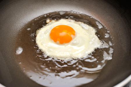 Fried egg on oil