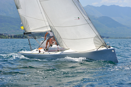 yacht race: Sailboat in the action