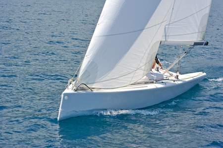 skipper: Sailboat in action