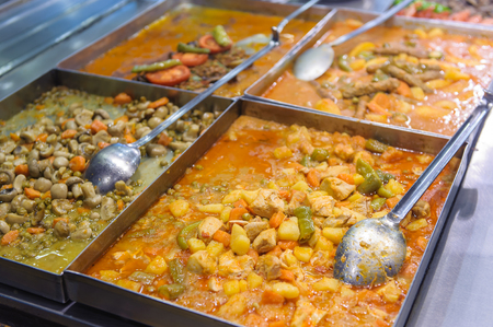 Buffet with cooked eastern food Banque d'images