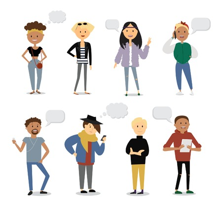 Set of funny cartoon youth characters with speech bubbles. Street casual style, modern fashion. Flat illustration. Illustration