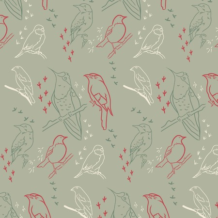 Seamless pattern with birds. Khaki-coloured background.  illustration.