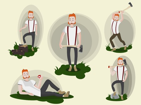 surly: Set of images with funny cartoon redheaded lumberjack holding an axe. Working, resting, posing. Isolated.