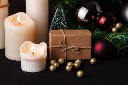 Christmas decoration. Blurred colorful lights background. Close up