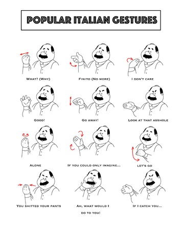 Gesturing funny cartoon bold man with mustaches. Set of gestures and humoristic explanations below. illustration.