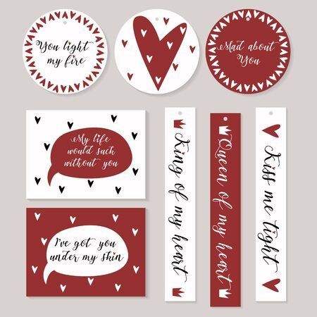 love declarations: Stickers set in white red with hearts and declarations of love. St Valentine styled. Illustration