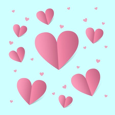 Card for st. Valentine day with pink hearts over blue background. Vector illustration.