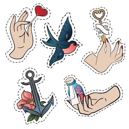 Set of stickers with hands, bird and anchor over white background. Stock Photo