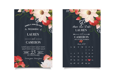 cheeful: Modern wedding invitation with calendar planner and matched wedding day