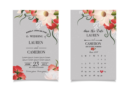 Calligraphy vector. Beautiful wedding invitation with calendar and matched date