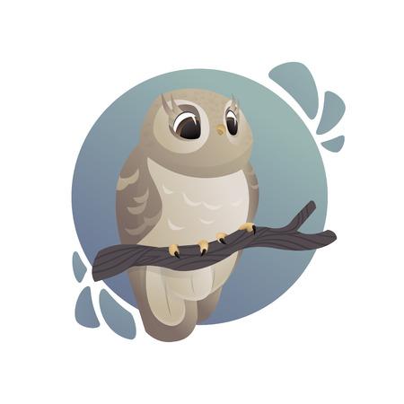 Cartoon art. Forest animals. Beautiful owl sitting on branch Illustration