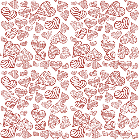 Valentines card. Seamless pattern with white background and red hearts