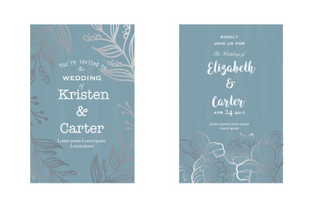 Beautiful greeting card. Vintage wedding design with silver floral elements