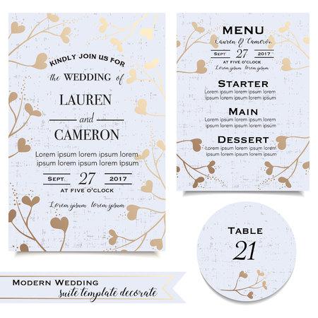 tarjetas de boda de color azul con la invitación, la tarjeta de fecha, menú