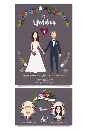Illustration with redhaired groom and chestnut bride hands under arch Illustration