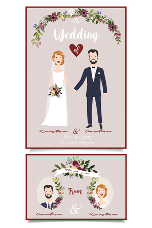 Wedding invitatoin. Bridal couple illustration. Floral design with handwritten text