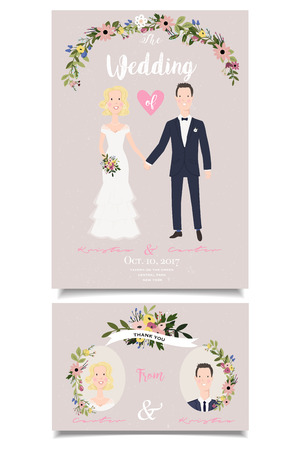 Romantic invitation card. Modern wedding invitation with smiling bridal couple.