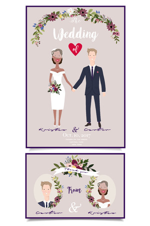 Modern wedding illustration of mixed marriage. Happy couple holding hands Illustration