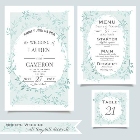 tarjeta de invitación de la boda de la menta con el ornamento floral en el fondo blanco