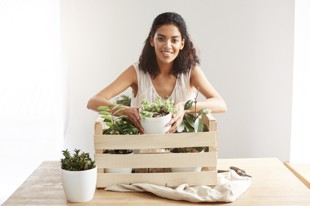 floristics: Beautiful african girl smiling looking at camera taking flower pot from box with plants over white wall.